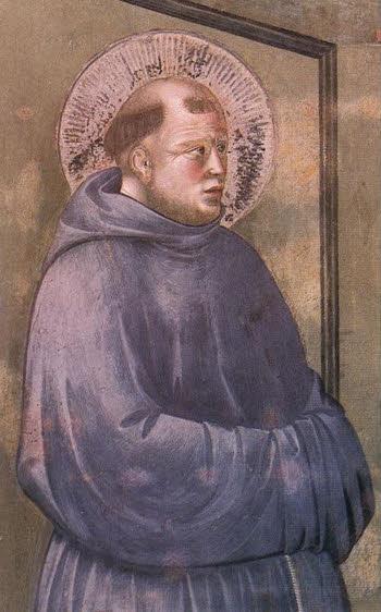 Santo Antônio, cf. representação de Giotto ( Legenda de São Franciso - Aparição de Arles - detalhe  )